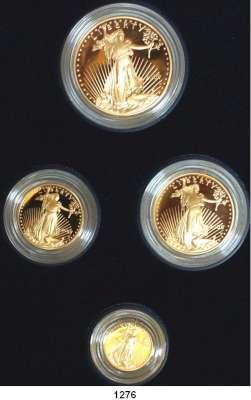 AUSLÄNDISCHE MÜNZEN,U S A  American Eagle Gold Proof Set 2005.  5, 10, 25 und 50 Dollars 2005 W.  (zus. 57,54g fein).  Schön 217 bis 220.  KM 216 bis 219.  Fb. B 1 bis 4.  Im Originaletui mit Zertifikat.  GOLD