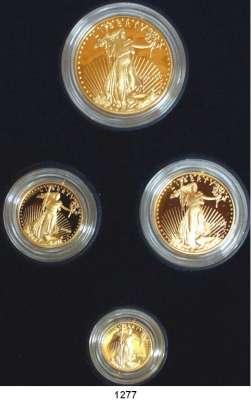 AUSLÄNDISCHE MÜNZEN,U S A  American Eagle Gold Proof Set 2006.  5, 10, 25 und 50 Dollars 2006 W.  (zus. 57,54g fein).  Schön 217 bis 220.  KM 216 bis 219.  Fb. B 1 bis 4.  Im Originaletui mit Zertifikat.  GOLD