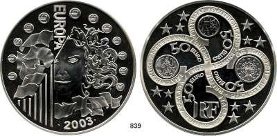 AUSLÄNDISCHE MÜNZEN,E U R O  -  P R Ä G U N G E N Frankreich 50 EURO 2003.  (1 Kilogramm STERLINGSILBER).  Schön 688.  KM. 1340.  Europäische Währungsunion - 1. Jahrestag  Im Originaletui mit Zertifikat.