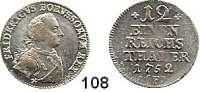Deutsche Münzen und Medaillen,Preußen, Königreich Friedrich II. der Große 1740 - 1786 1/12 Taler 1752 F, Magdeburg. 3,43 g.  Kluge 107.1/369.  v.S. 350.  Olding 65.
