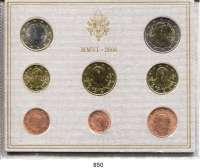AUSLÄNDISCHE MÜNZEN,E U R O  -  P R Ä G U N G E N Vatikan Kurssatz 2006 (8 Werte).  Cent bis 2 Euro.