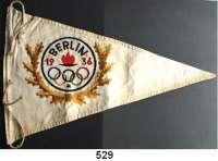 M E D A I L L E N,Olympiade Berlin 1936 Wimpel (Leinen, mehrfarbig bestickt).  24/1 x 36 cm.