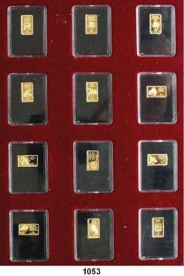 AUSLÄNDISCHE MÜNZEN,Kongo, Demokratische Republik  DIE ZEHN GEBOTE.  100 Francs 2018 (1/50 Unze, 0,63g fein).  Etui mit 12 Barrenmünzen (Die Zehn Gebote und zwei weitere Stücke, Bibel und Moses).  Zusammen 7,56 Gramm.  GOLD
