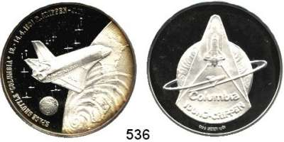 M E D A I L L E N,Luftfahrt - Raumfahrt Raketen / Raumschiffe Silbermedaille 1981 (999).  Space Shuttle