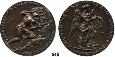 M E D A I L L E N,Numismatik  Bronzegußmedaille 1993 (Fitzenreiter).  Zum 150jährigen Jubiläum der Numismatischen Gesellschaft zu Berlin.  68 mm.  115 g.  Im Originaletui.