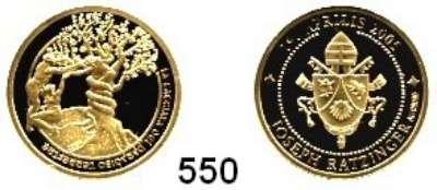 M E D A I L L E N,Religion; Liebe und Ehe  Goldmedaille 2005 (999).  Sixtinische Kapelle - Die Vertreibung aus dem Paradies.  20 mm.  3,11 g.  Im Etui.  GOLD