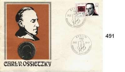 Deutsche Demokratische Republik,  5 Mark 1989.   Ossietzky.  Im Numisbrief (Poststempel : 28.02.89-11).