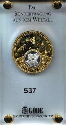 M E D A I L L E N,Luftfahrt - Raumfahrt Raketen / Raumschiffe Vergoldete Medaille o.J.  Auf die Ersten Deutschen im Weltraum