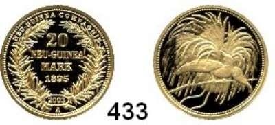 Besetzte Gebiete  -  Kolonien  -  Danzig,Deutsch - Neuguinea  Neuprägung (Punze 2003) des 20 Markstückes von 1895 A.  GOLD  Vgl. Jaeger 709.  20 mm.  3,55 Gramm.