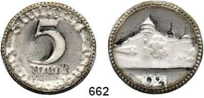P O R Z E L L A N M Ü N Z E N,Münzen von anderen Deutschen Keramischen Fabriken Stuttgart 5 Mark 1921 weiß, Rand vergoldet, teilweise geschwärzt.  Menzel 24603.1