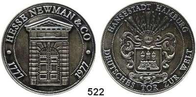 M E D A I L L E N,Städte Hamburg Silbermedaille 1977 (925).  200 Jahre Privatbank Hesse Newmann & Co..  Eingangsportal. / Hamburger Wappen.  40 mm.  25,94 g.