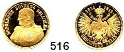 M E D A I L L E N,Personen Napoleon I.__ Goldmedaille o.J. (B. Galopi, um 1970).  Napoleone Sovrano dell'Elba.  Brustbild n. l. / Bekrön. Adler.  Punze im Feld