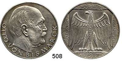 M E D A I L L E N,Personen Bismarck, Fürst Otto von Moderne Silbermedaille o.J. (Holl/ 1000).  Kopf n. r. / Reichsadler.  40,2 mm.  24,84 g.