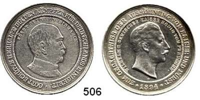 M E D A I L L E N,Personen Bismarck, Fürst Otto von Silbermedaille 1894.  Auf die Aussöhnung von Kaiser und Fürst.  Riffelrand.  35 mm.  14,72 g.  Bennert 122.