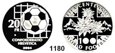 AUSLÄNDISCHE MÜNZEN,Schweiz Eidgenossenschaft 20 Franken 2004.  100 Jahre Internationaler Fußballverband.  Schön 107.  KM 121.