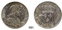 AUSLÄNDISCHE MÜNZEN,Frankreich Ludwig XIV. 1643 - 1715 Ecu a la meche longue 1652 A, Paris.  27,28 g.  Duplessy 1469.  KM 155.1.  Dav.3799.