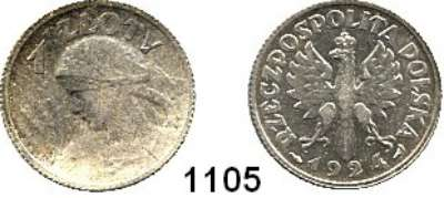 AUSLÄNDISCHE MÜNZEN,Polen Republik 1919 - 1939 1 Zloty 1924.  Fischer OB 007.  Schön 11.1.   Y 15.