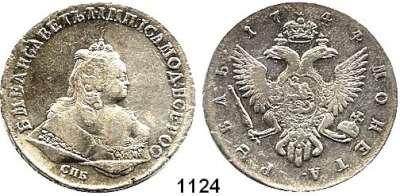 AUSLÄNDISCHE MÜNZEN,Russland Elisabeth 1741 - 1762 Rubel 1744, Sankt Petersburg.  25,62 g.  Bitkin 257.