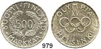 AUSLÄNDISCHE MÜNZEN,Finnland Republik 500 Markkaa 1951.  Olympische Spiele - Helsinki.  Seltenes Jahr.  Schön 46.  KM 35.