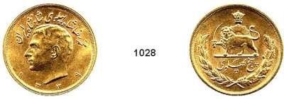 AUSLÄNDISCHE MÜNZEN,Iran Mohammed Riza Pahlewi 1941 - 1979 5 Pahlavi 1339 S (1960)  (36,61g fein).  Schön 136.  KM 1164.  Fb. 99.  GOLD