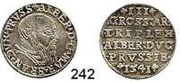Deutsche Münzen und Medaillen,Preußen, Herzogtum Albrecht von Brandenburg (1511) 1525-1568 3 Groschen 1541.  2,33 g.  Neumann 43.