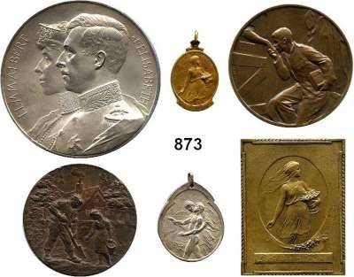 AUSLÄNDISCHE MÜNZEN,Belgien Albert I. 1909  - 1934 LOT von 6 verschiedenen Medaillen/Plaketten zwischen 1914 und 1917.  20/32 bis 70 mm.