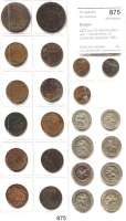 AUSLÄNDISCHE MÜNZEN,Belgien L O T S      L O T S      L O T S LOT von 23 Kleinmünzen von 1 Centime bis 10 Centimes zwischen 1851 und 1912.