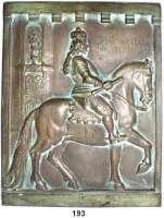 Deutsche Münzen und Medaillen,Düsseldorf  Große Bronzegußplakette o.J. (unsigniert).  Reiterstandbild Jan Wellem in Düsseldorf.  24,3 x 31 cm.  2,633 Kg.