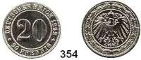 R E I C H S M Ü N Z E N,Kleinmünzen  20 Pfennig 1892 J.