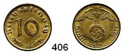R E I C H S M Ü N Z E N,Drittes Reich  10 Reichspfennig 1936 A.