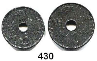 Besetzte Gebiete  -  Kolonien  -  Danzig,Reichskreditkasse  5 und 10 Reichspfennig 1940 A.  LOT 2 Stück.