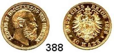 R E I C H S M Ü N Z E N,Hessen, Großherzogtum Ludwig IV. 1877 - 1892 10 Mark 1888.