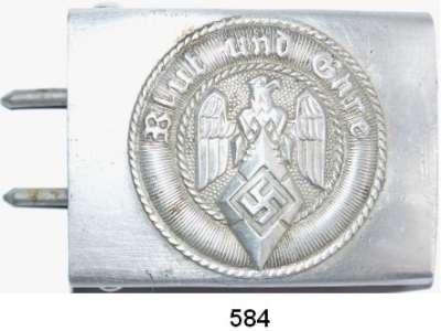 Orden, Ehrenzeichen, Militaria, Zeitgeschichte,Zeitgeschichte  -  Militaria  Koppelschloß der HJ in Aluminiumausführung mit Herstellermarkierungen.