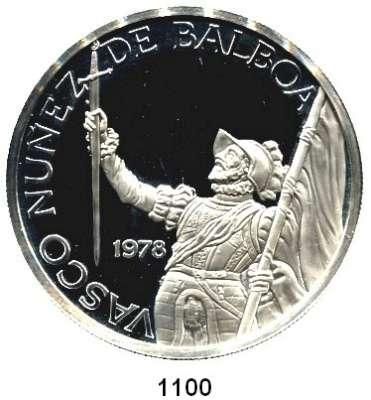AUSLÄNDISCHE MÜNZEN,Panama  20 Balboa 1978.  75 Jahre Unabhängigkeit des Staates Panama.  Bolivar mit Flagge und Schwert.  Schön 54.  KM 54.  Im Originaletui mit Zertifikat.