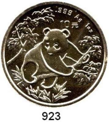 AUSLÄNDISCHE MÜNZEN,China Volksrepublik seit 1949 10 Yuan 1992 (Silberunze).  Große Jahreszahl.  Panda auf Baum.  Schön 408.  KM 397.