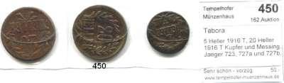 Besetzte Gebiete  -  Kolonien  -  Danzig,Tabora  5 Heller 1916 T, 20 Heller 1916 T Kupfer und Messing.  Jaeger 723, 727a und 727b.  LOT 3 Stück.