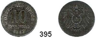 R E I C H S M Ü N Z E N,I.Weltkrieg und Inflation  10 Pfennig 1917 Ohne Münzzeichen.  Geprägt auf Zinkschrötling.