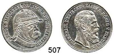 M E D A I L L E N,Personen Bismarck, Fürst Otto von Silbermedaille o.J. (M).  Kopf des Reichskanzlers mit Pickelhaube n. r. / Kopf Kaiser Friedrich III. n. r.  28,5 mm.  11,55 g.