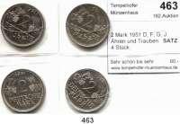 B U N D E S R E P U B L I K,  2 Mark 1951 D, F, G, J.  Ähren und Trauben.  SATZ 4 Stück.
