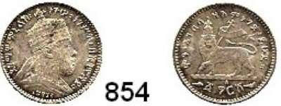 AUSLÄNDISCHE MÜNZEN,Äthiopien Menelik II. 1889 - 1913 Gersh 1895 A (1902-03).  Schön 2.  KM 12.