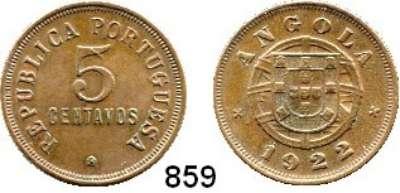 AUSLÄNDISCHE MÜNZEN,Angola Portugiesisch bis 1975 5 Centavos 1922.  Schön 3.  KM 62.