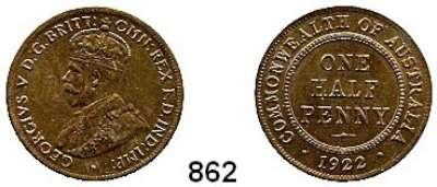 AUSLÄNDISCHE MÜNZEN,Australien Georg V. 1910 - 1936 Half Penny 1922.  Schön 13.  KM 22.