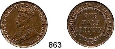 AUSLÄNDISCHE MÜNZEN,Australien Georg V. 1910 - 1936 Half Penny 1927.  Schön 13.  KM 22.