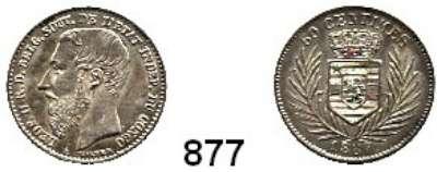 AUSLÄNDISCHE MÜNZEN,Belgisch - Kongo Leopold II. 1885 - 1909 50 Centimes 1887.  Kahnt/Schön 5.   KM 5.