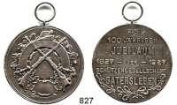 M E D A I L L E N,Schützen Gatersleben Silbermedaille 1927.  Zum 100jährigen Jubiläum der Schützengesellschaft.  40 mm.  22,47 g.  Mit Öse und Ring.