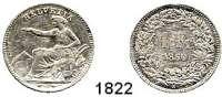 AUSLÄNDISCHE MÜNZEN,Schweiz Eidgenossenschaft 1 Franken 1850 A.  Sitzende Helvetia.  HMZ 2-1203 a.   Kahnt/Schön 11.  KM 9.