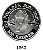 AUSLÄNDISCHE MÜNZEN,Dänemark Margrethe II., seit 1972 100 Kronen 2007, Kopenhagen.  Eisbär.   Schön 134.  KM 917.  Im Originaletui mit Zertifikat.