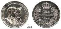 Deutsche Münzen und Medaillen,Sachsen Johann 1854 - 1873 Vereinsdoppeltaler 1872.  Goldene Hochzeit.  Kahnt 479.  AKS 160.  Jg. 133.  Thun 352.  Dav. 899.