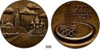 M E D A I L L E N,Olympiade Moskau 1980 Offizielle Bronzegußmedaille 1980 (A. Leonowa).  Für Teilnehmer.  Stadtzentrum. / Olympiasymbol.  60 mm.  125,97 g.  Im Originaletui.