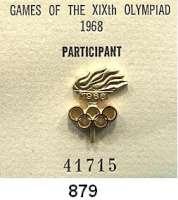 M E D A I L L E N,Olympiade Mexiko 1968 IOC-Teilnehmernadel
